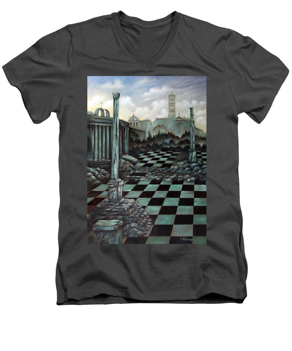 Surreal Men's V-Neck T-Shirt featuring the painting Sepulchre by Valerie Vescovi