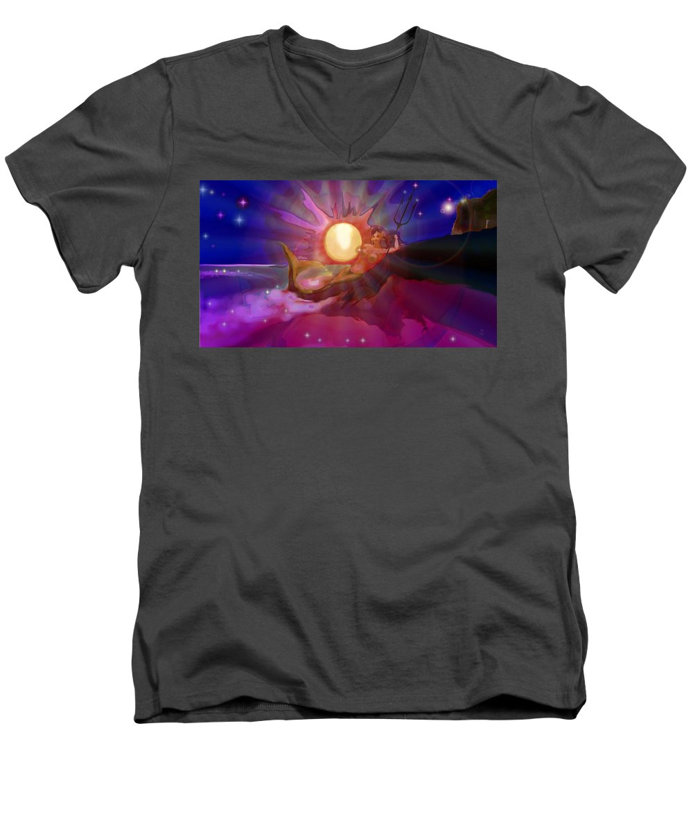 Sera Men's V-Neck T-Shirt featuring the digital art Sera Maroon by Mark Kleinschnitz