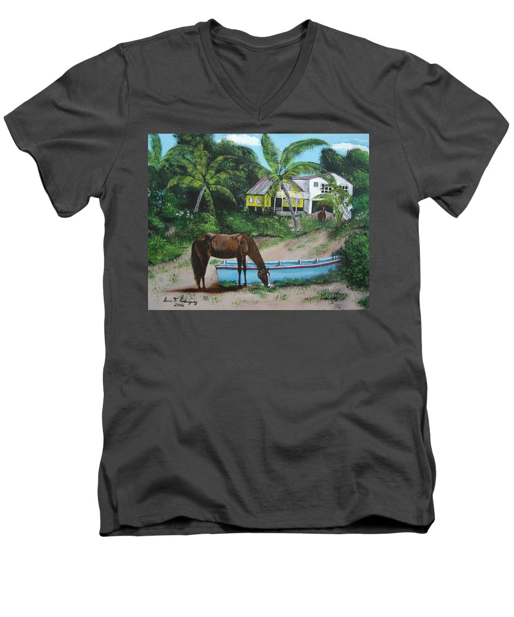 Aguadilla Men's V-Neck T-Shirt featuring the painting Serenity by Luis F Rodriguez