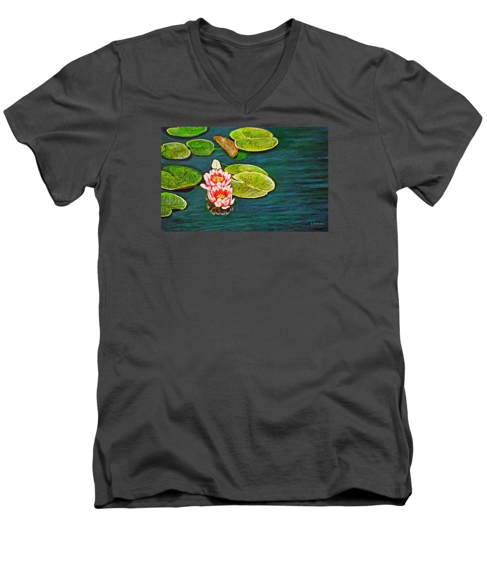 Water Lily Men's V-Neck T-Shirt featuring the painting Serenity by Michael Durst