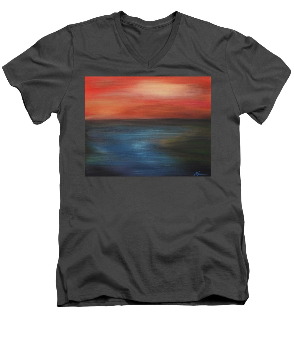 Scenic Men's V-Neck T-Shirt featuring the painting Serenity by Todd Hoover