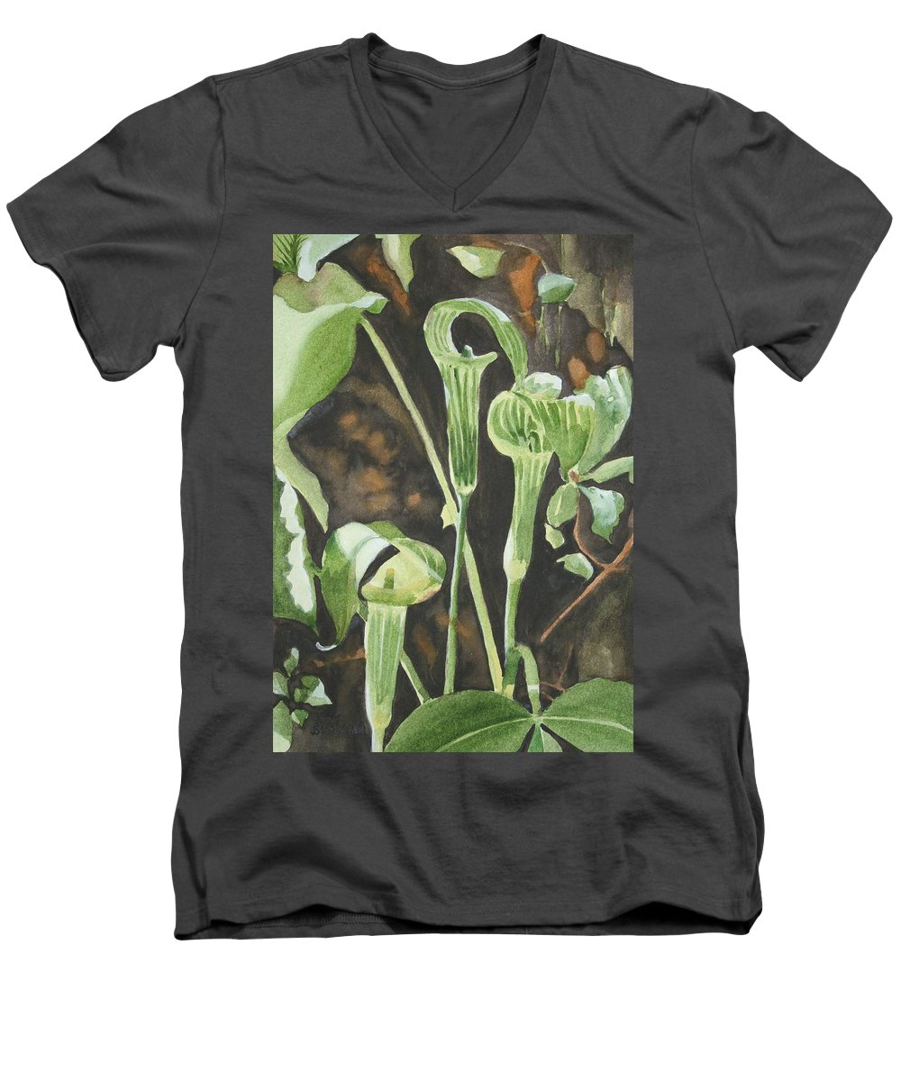 Woods Men's V-Neck T-Shirt featuring the painting Sermon In The Woods by Jean Blackmer