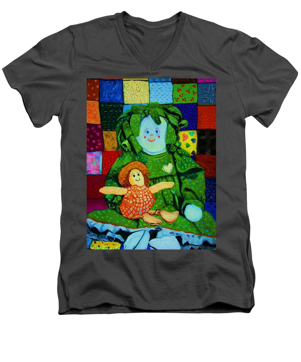 Dolls Men's V-Neck T-Shirt featuring the print Sew Sweet by Melinda Etzold