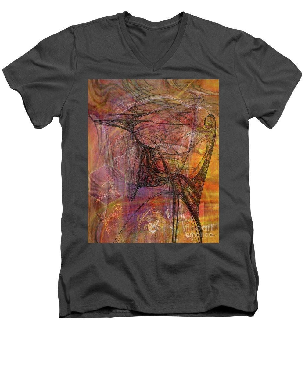 Shadow Dragon Men's V-Neck T-Shirt featuring the digital art Shadow Dragon by John Beck