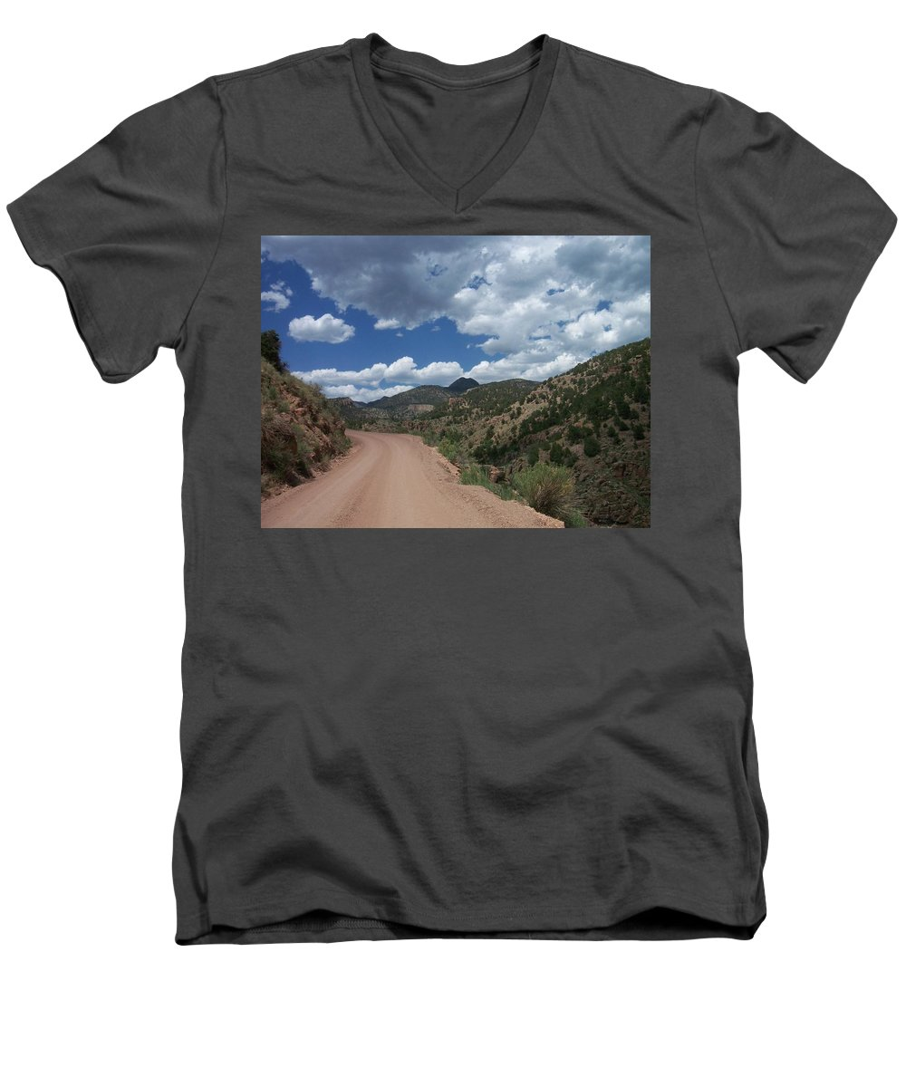 Shelf Road Men's V-Neck T-Shirt featuring the photograph Shelf Road by Anita Burgermeister