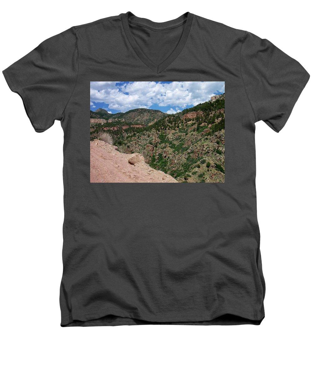 Shelf Road Men's V-Neck T-Shirt featuring the photograph Shelf Road Drop Off by Anita Burgermeister