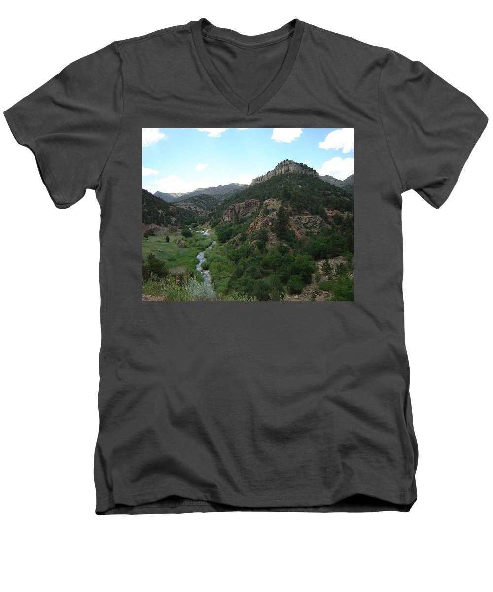 Shelf Road Men's V-Neck T-Shirt featuring the photograph Shelf Road Vista by Anita Burgermeister
