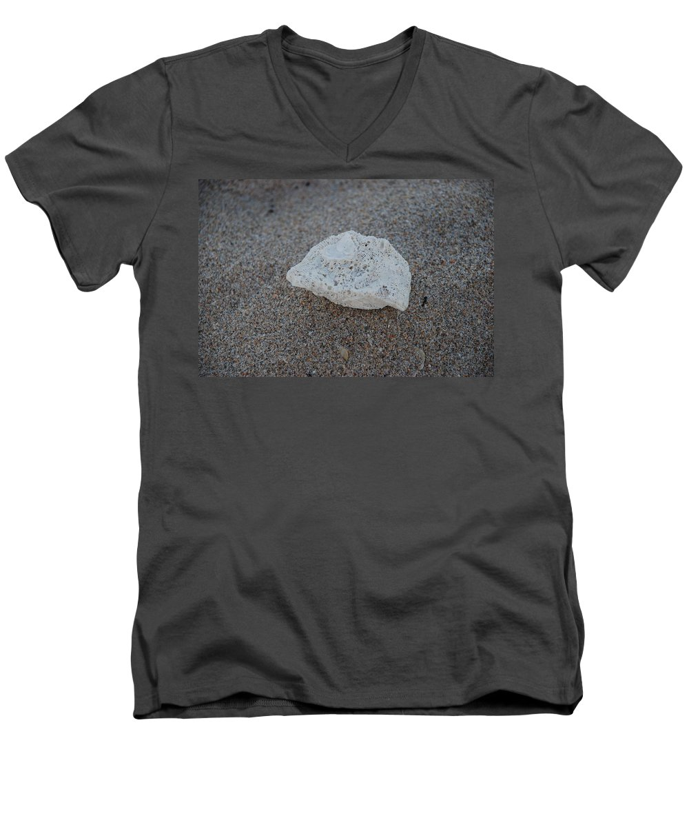 Shells Men's V-Neck T-Shirt featuring the photograph Shell And Sand by Rob Hans