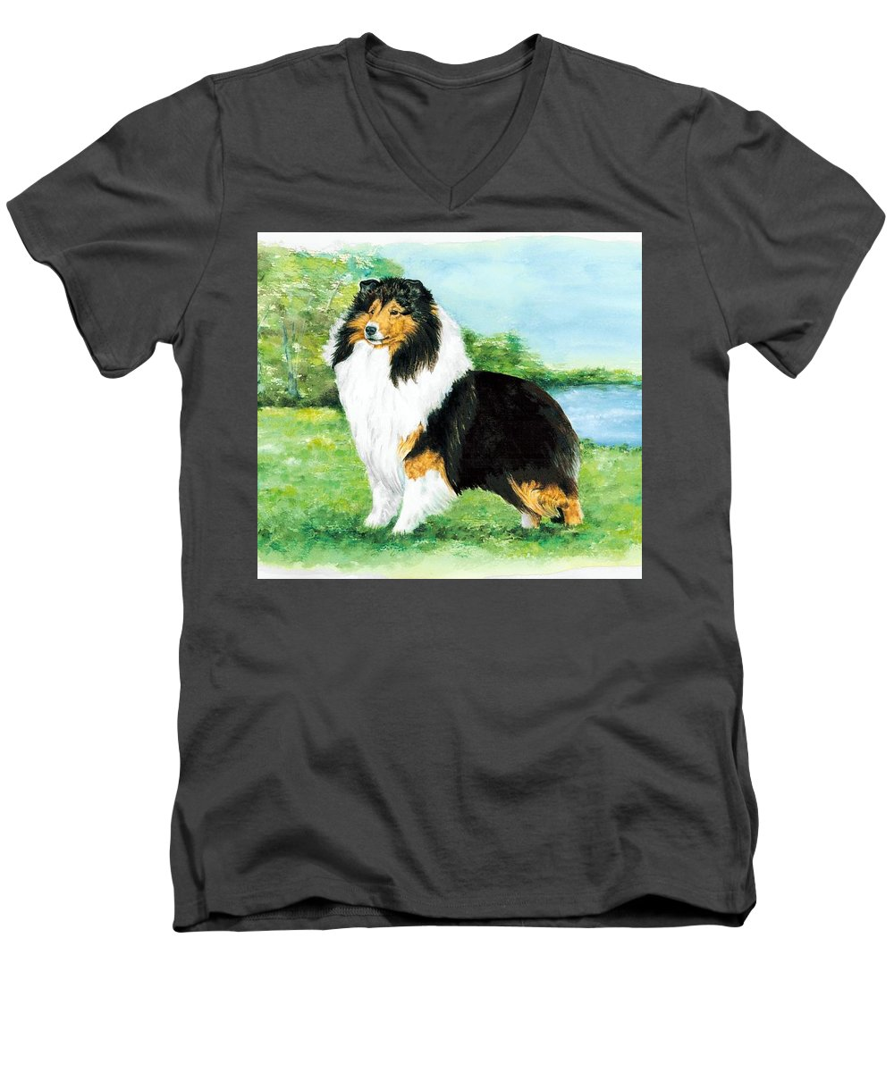 Shetland Sheepdog Men's V-Neck T-Shirt featuring the painting Sheltie Wait by Kathleen Sepulveda