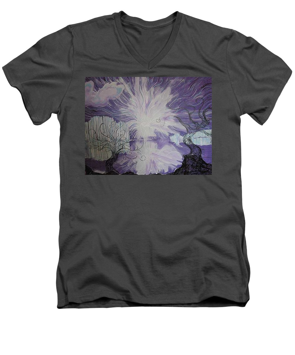 Squiggleism Men's V-Neck T-Shirt featuring the painting Shore Dance by Stefan Duncan
