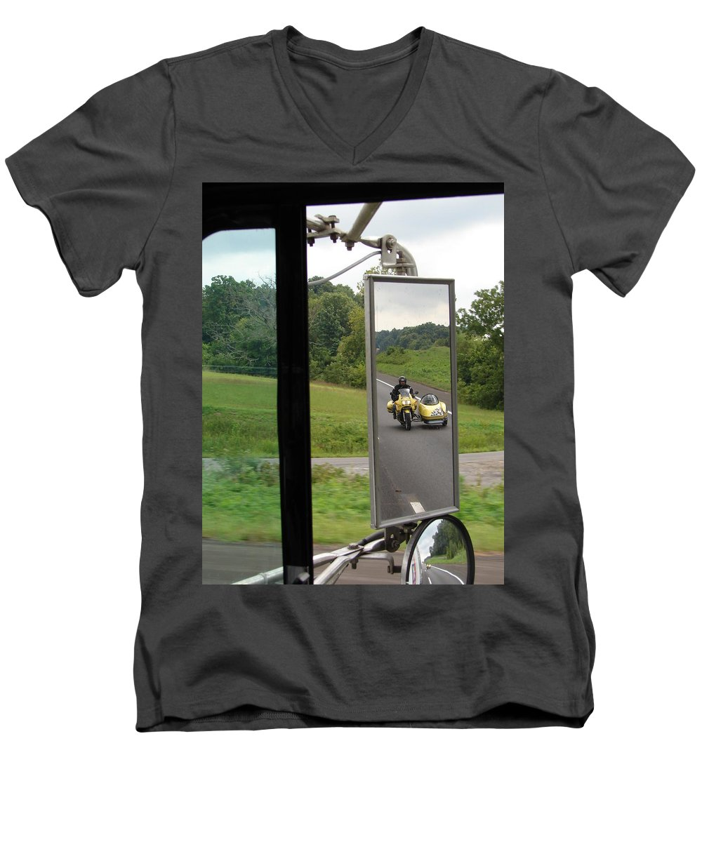 Truck Men's V-Neck T-Shirt featuring the photograph Side Car Framed by J R  Seymour