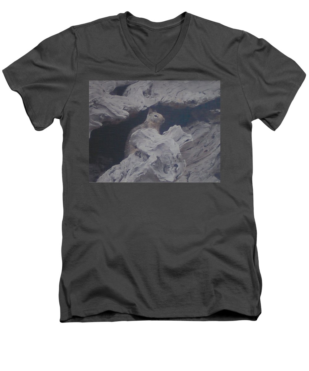 Squirrel Men's V-Neck T-Shirt featuring the photograph Silent Observer by Pharris Art