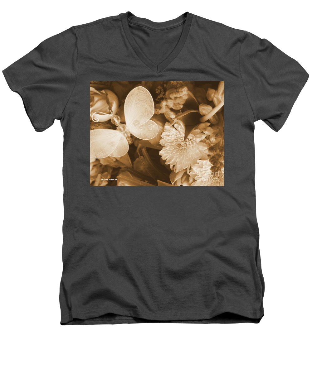 Photography Enhanced Men's V-Neck T-Shirt featuring the photograph Silent Transformation Of Existence by Shelley Jones