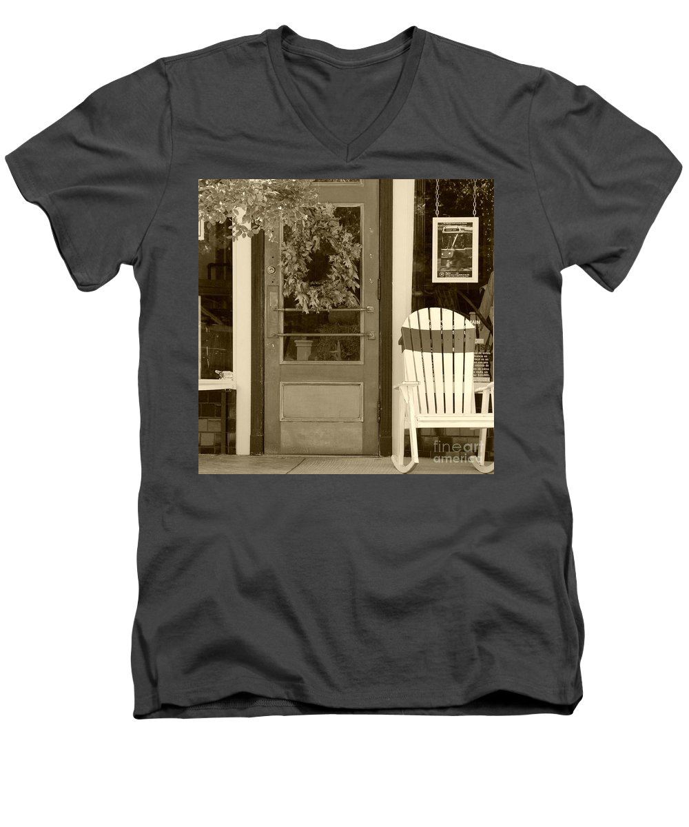 Rocking Chair Men's V-Neck T-Shirt featuring the photograph Simple Times by Debbi Granruth