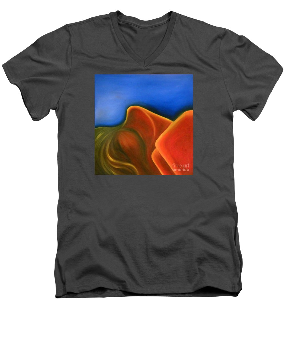 Woman Paintings Men's V-Neck T-Shirt featuring the painting Sinuous Curves Iv by Fanny Diaz