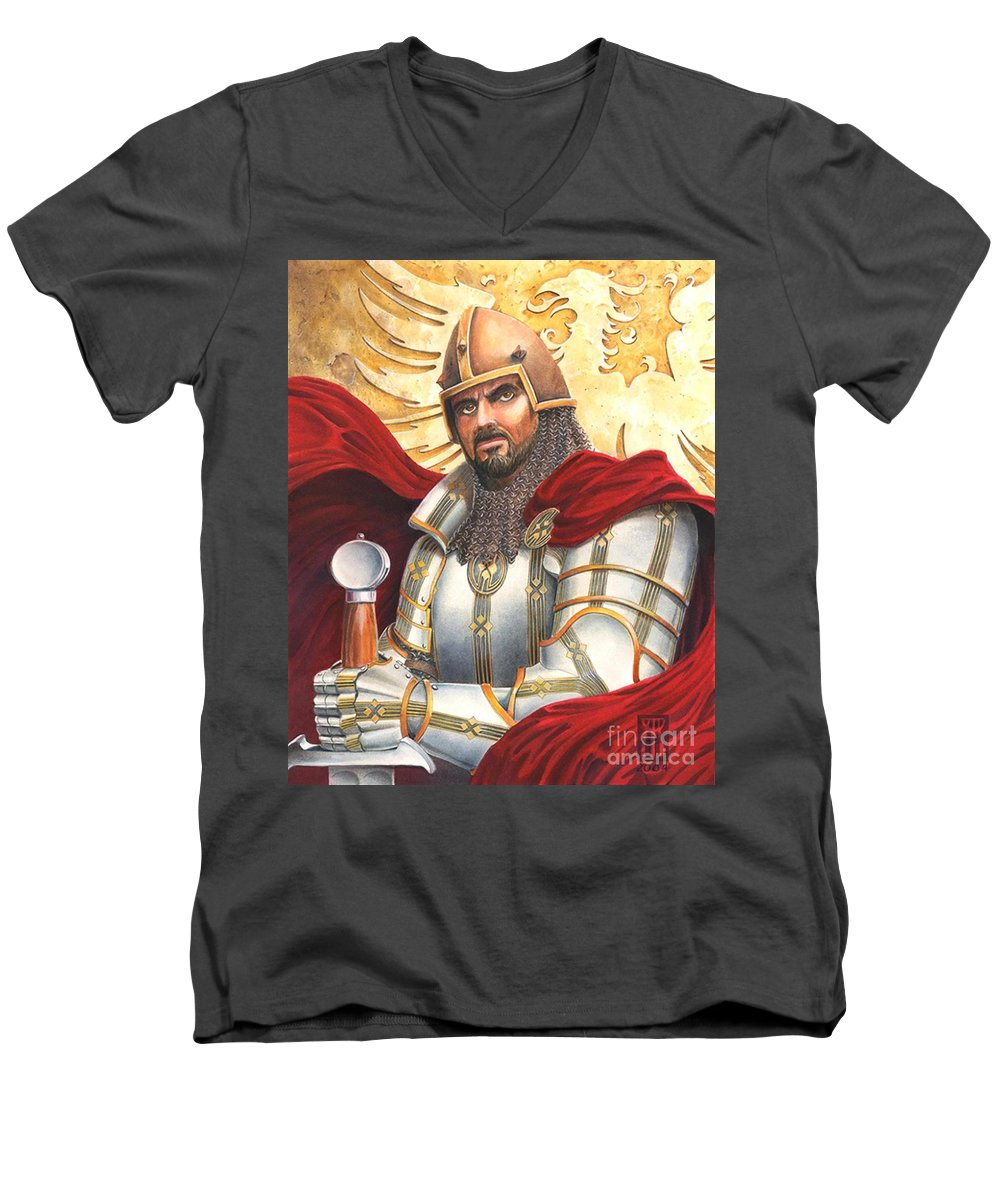 Swords Men's V-Neck T-Shirt featuring the drawing Sir Gawain by Melissa A Benson