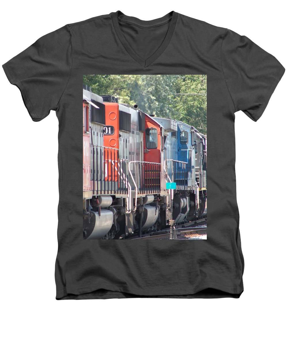 Men's V-Neck T-Shirt featuring the photograph Sitting In The Switching Yard by J R  Seymour