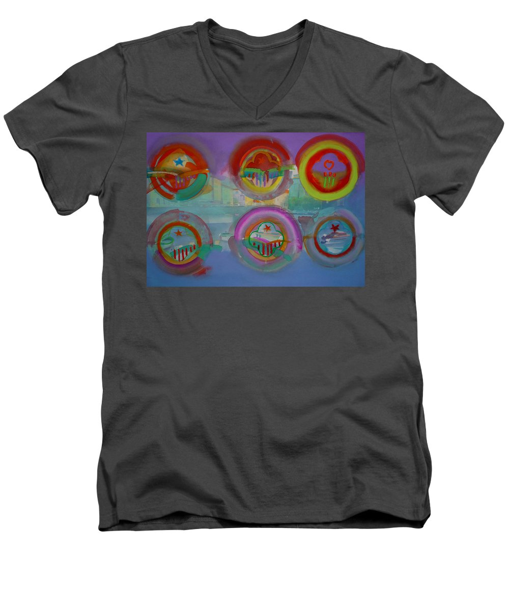 Landscape Men's V-Neck T-Shirt featuring the painting Six Visions Of Heaven by Charles Stuart