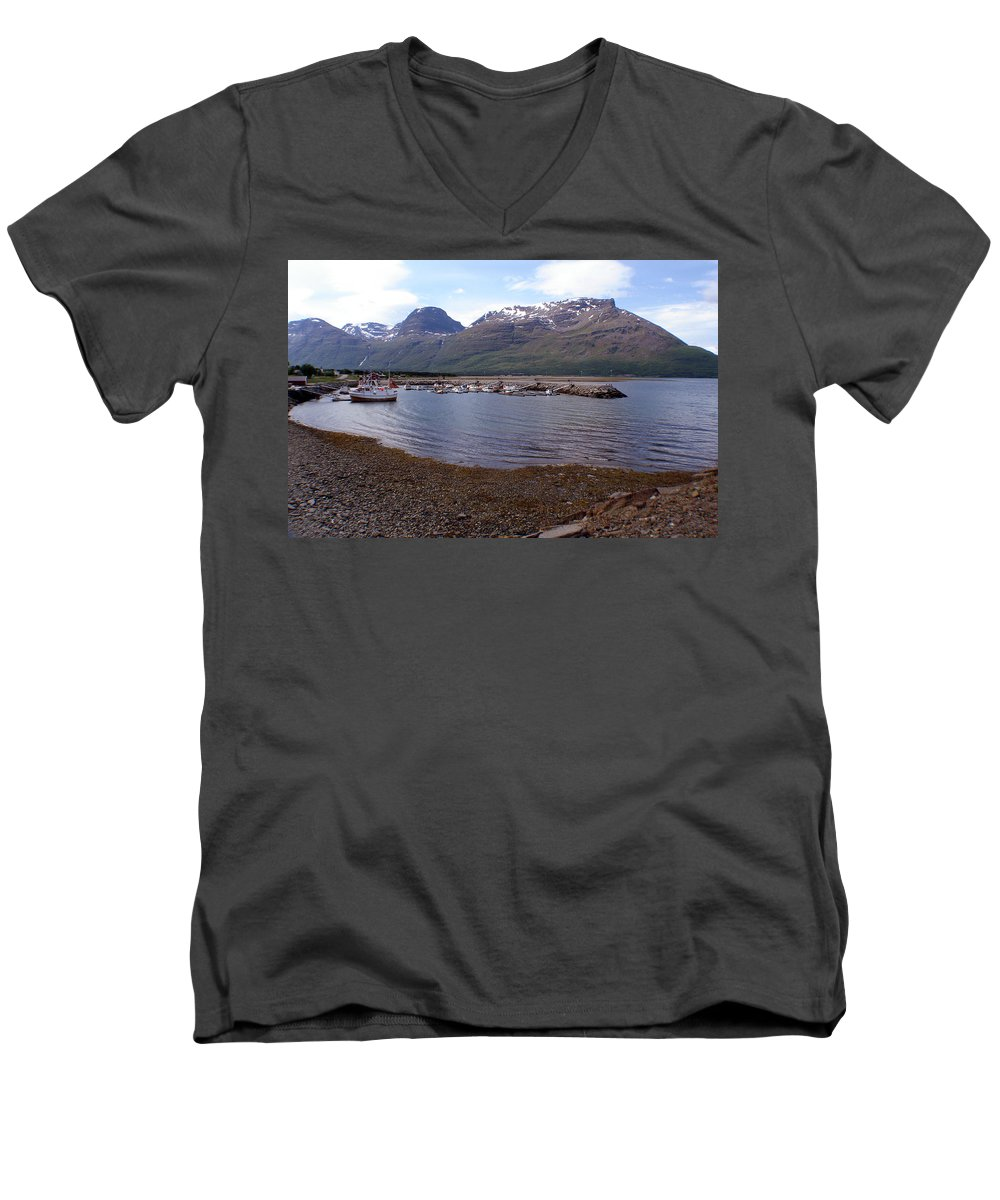 Skibotn Men's V-Neck T-Shirt featuring the photograph Skibotn Harbor Norway by Merja Waters