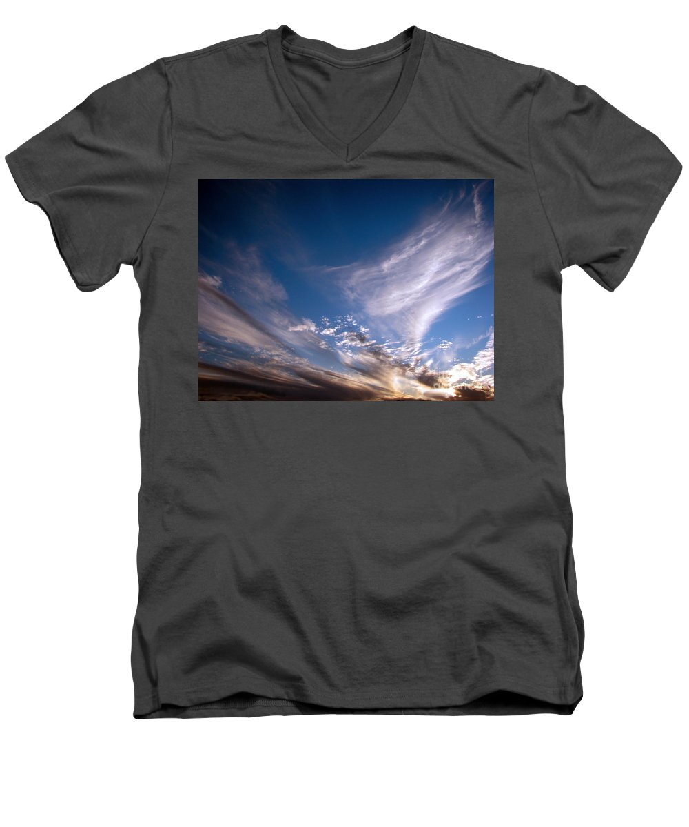 Skies Men's V-Neck T-Shirt featuring the photograph Sky by Amanda Barcon