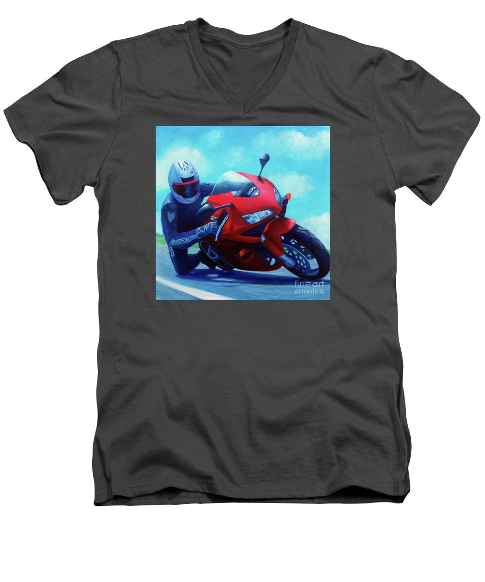 Motorcycle Men's V-Neck T-Shirt featuring the painting Sky Pilot - Honda Cbr600 by Brian Commerford