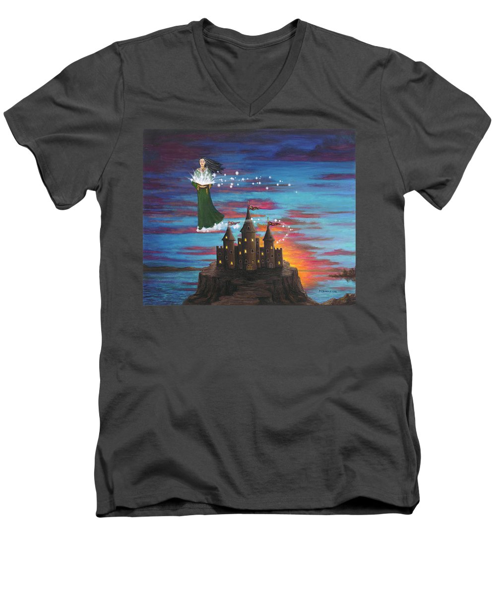 Wizard Men's V-Neck T-Shirt featuring the digital art Sky Walker by Roz Eve