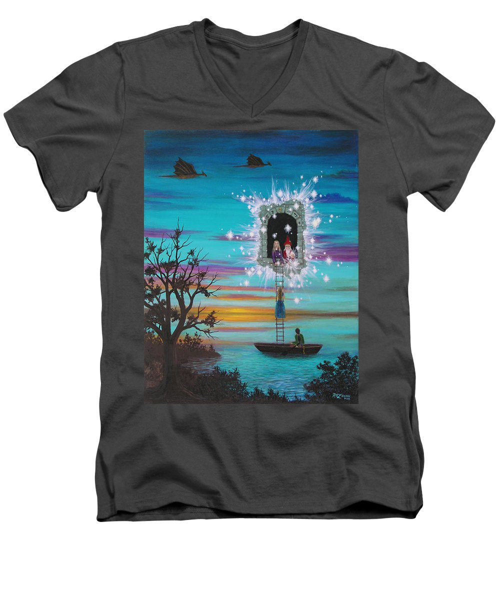 Fantasy Men's V-Neck T-Shirt featuring the painting Sky Window by Roz Eve