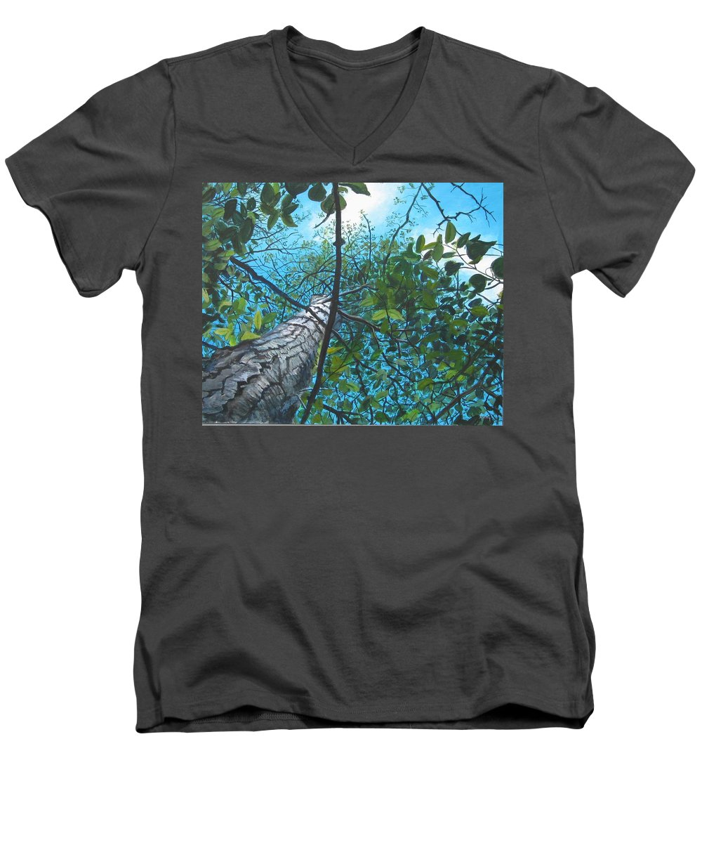 Landscape Men's V-Neck T-Shirt featuring the painting Skyward by William Brody