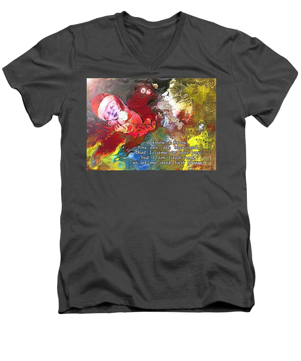 Messiah Painting Men's V-Neck T-Shirt featuring the painting Sleepig Messiah by Miki De Goodaboom