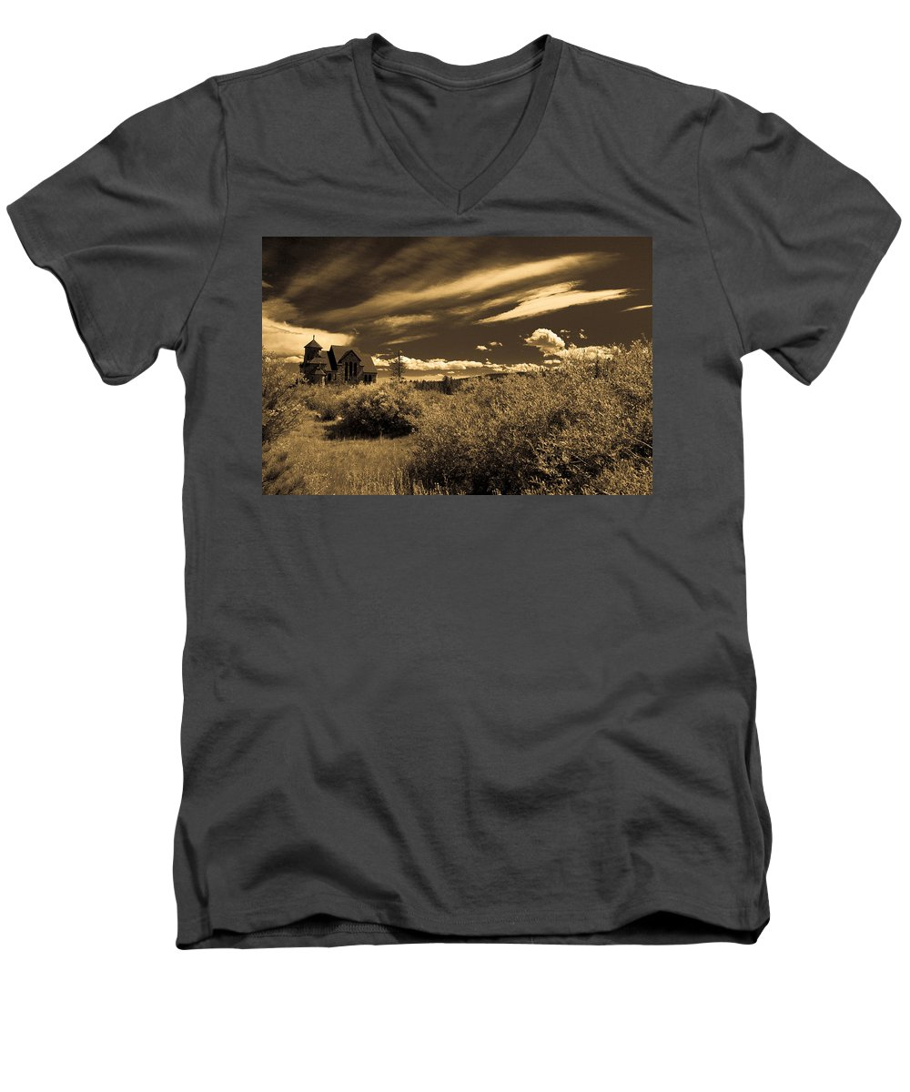 Church Men's V-Neck T-Shirt featuring the photograph Small Town Church by Marilyn Hunt