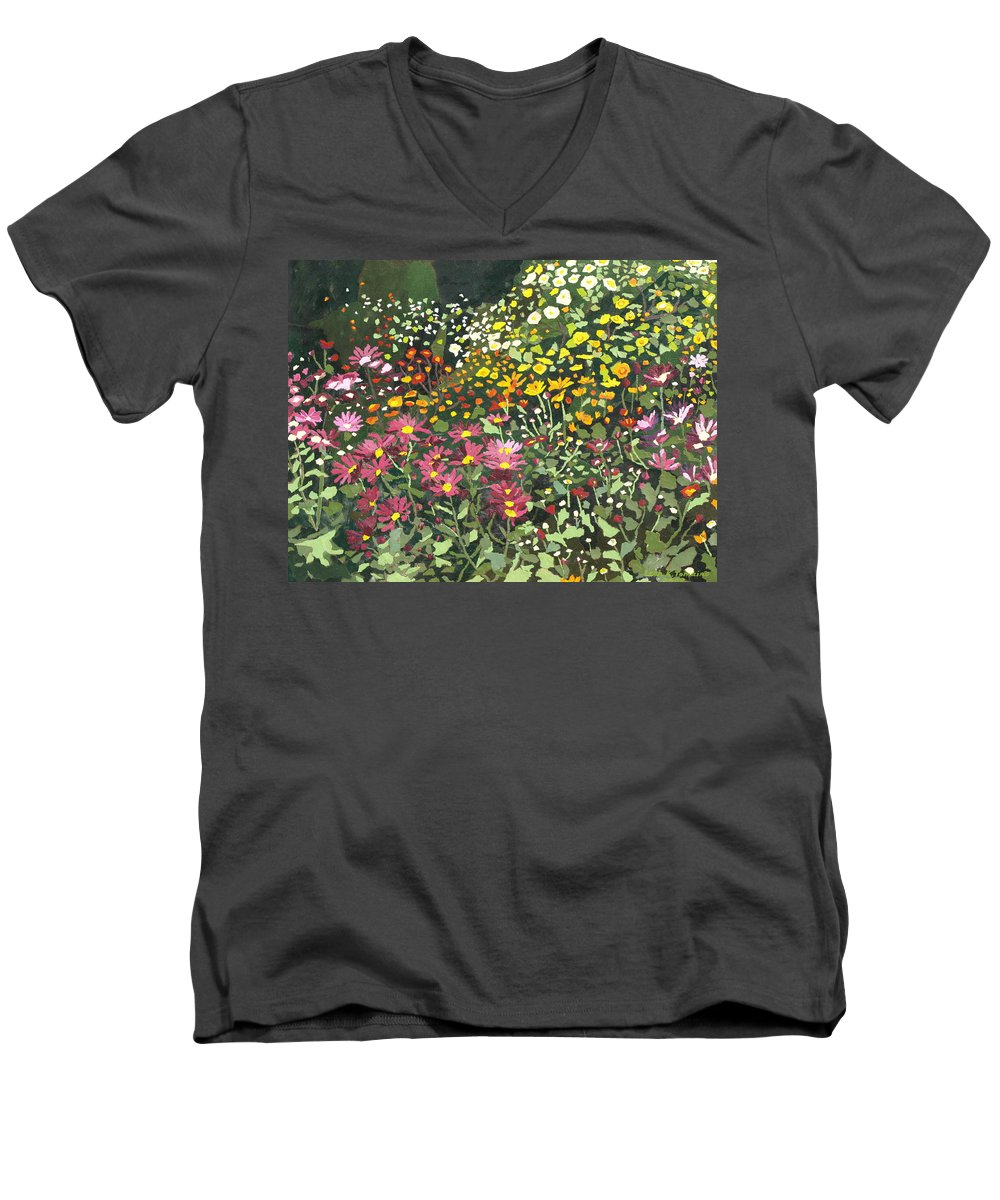 Floral Men's V-Neck T-Shirt featuring the painting Smith Mums by Leah Tomaino