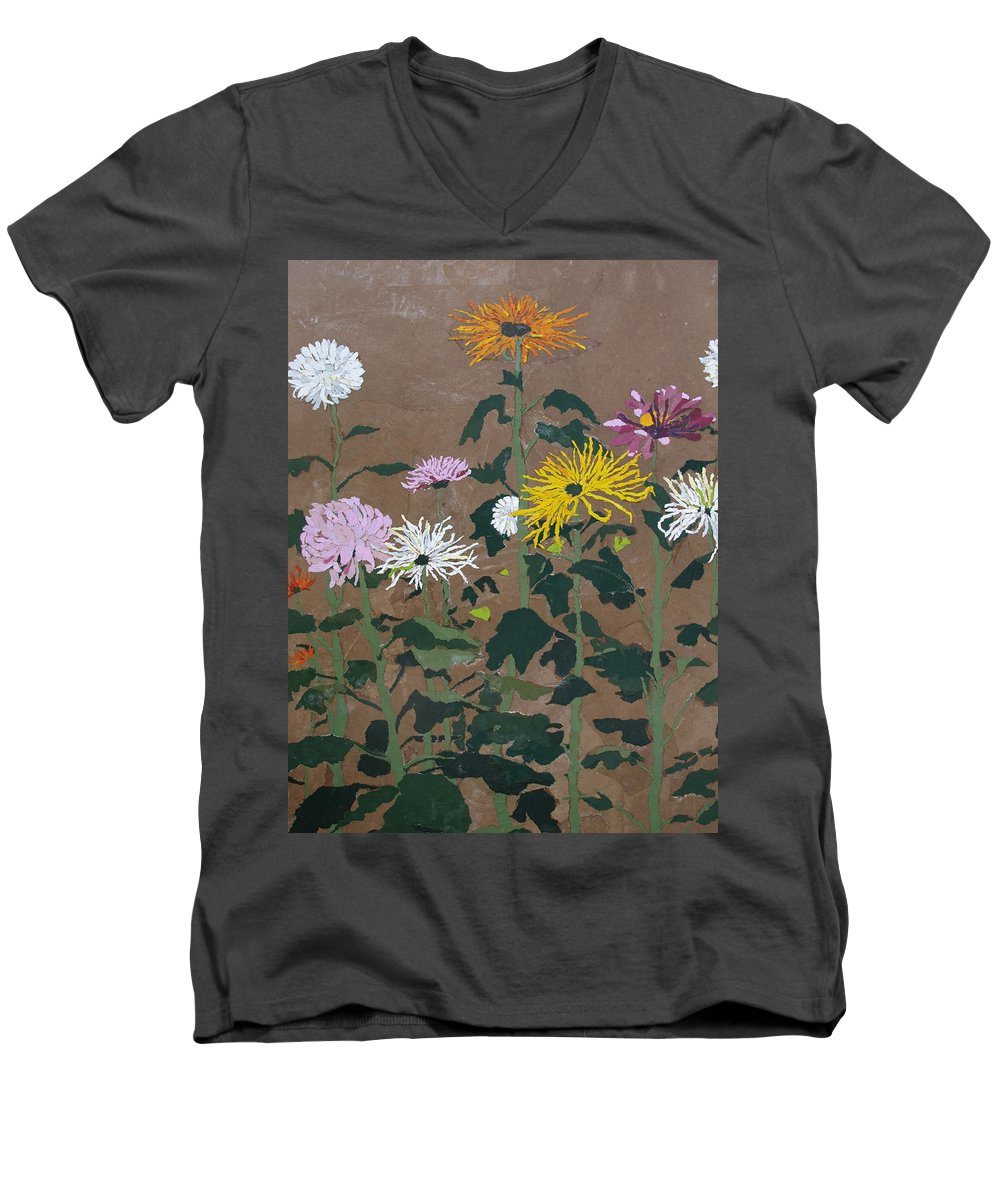 Collage Men's V-Neck T-Shirt featuring the painting Smith's Giant Chrysanthemums by Leah Tomaino