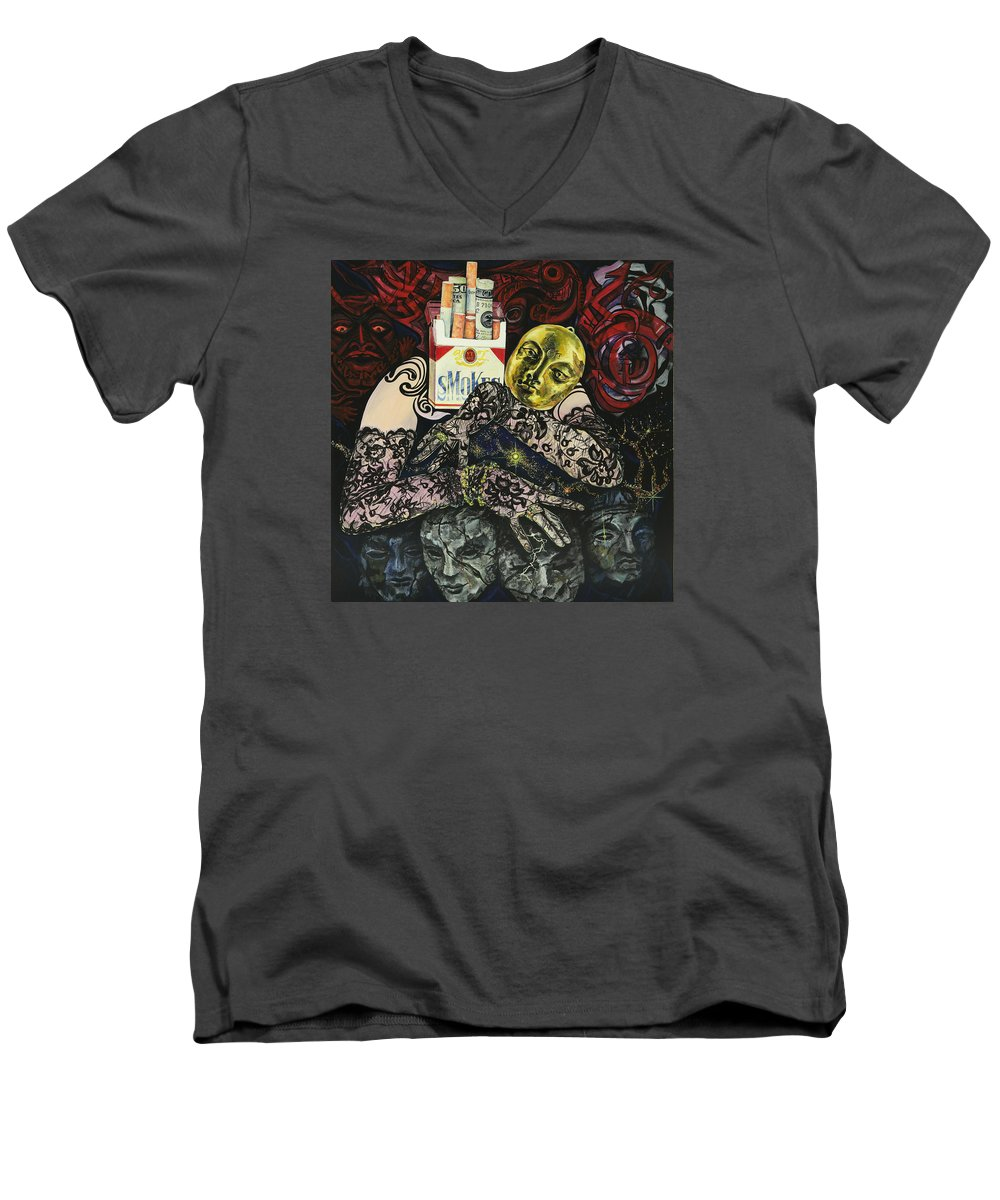 Surreal Men's V-Neck T-Shirt featuring the painting Smoke And Lace by Yelena Tylkina