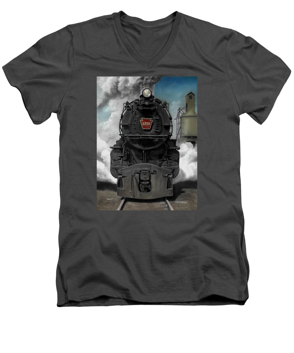 Trains Men's V-Neck T-Shirt featuring the painting Smoke And Steam by David Mittner