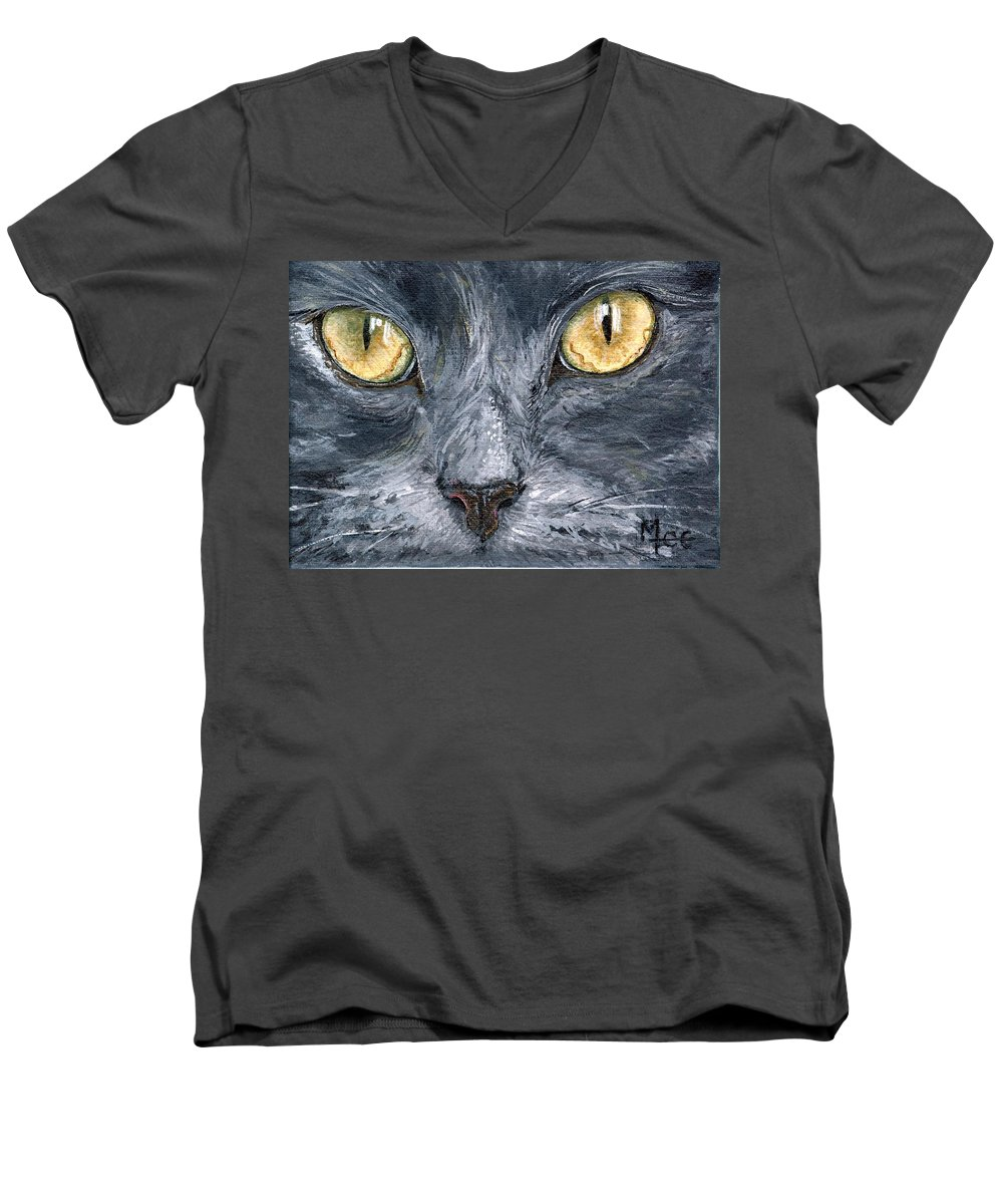 Charity Men's V-Neck T-Shirt featuring the painting Smokey by Mary-Lee Sanders