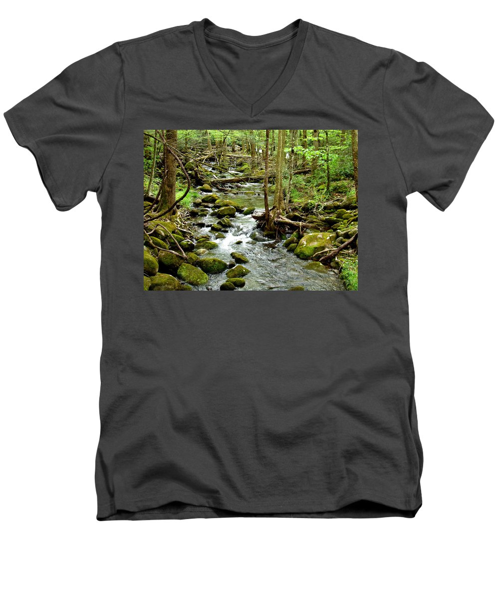 Smoky Mountains Men's V-Neck T-Shirt featuring the photograph Smoky Mountain Stream 1 by Nancy Mueller