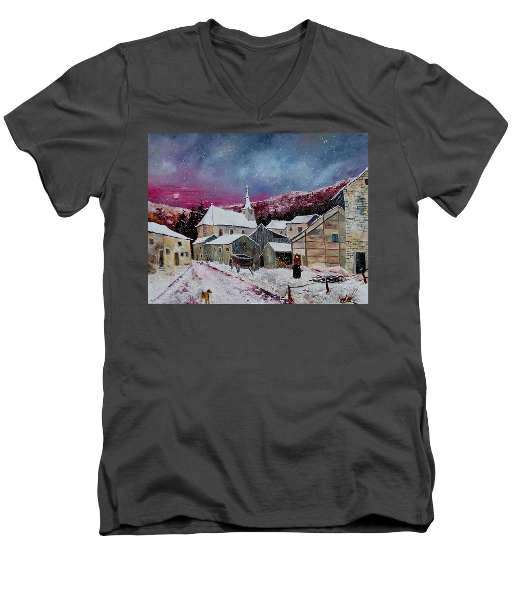 Snow Men's V-Neck T-Shirt featuring the painting Snow Is Falling by Pol Ledent