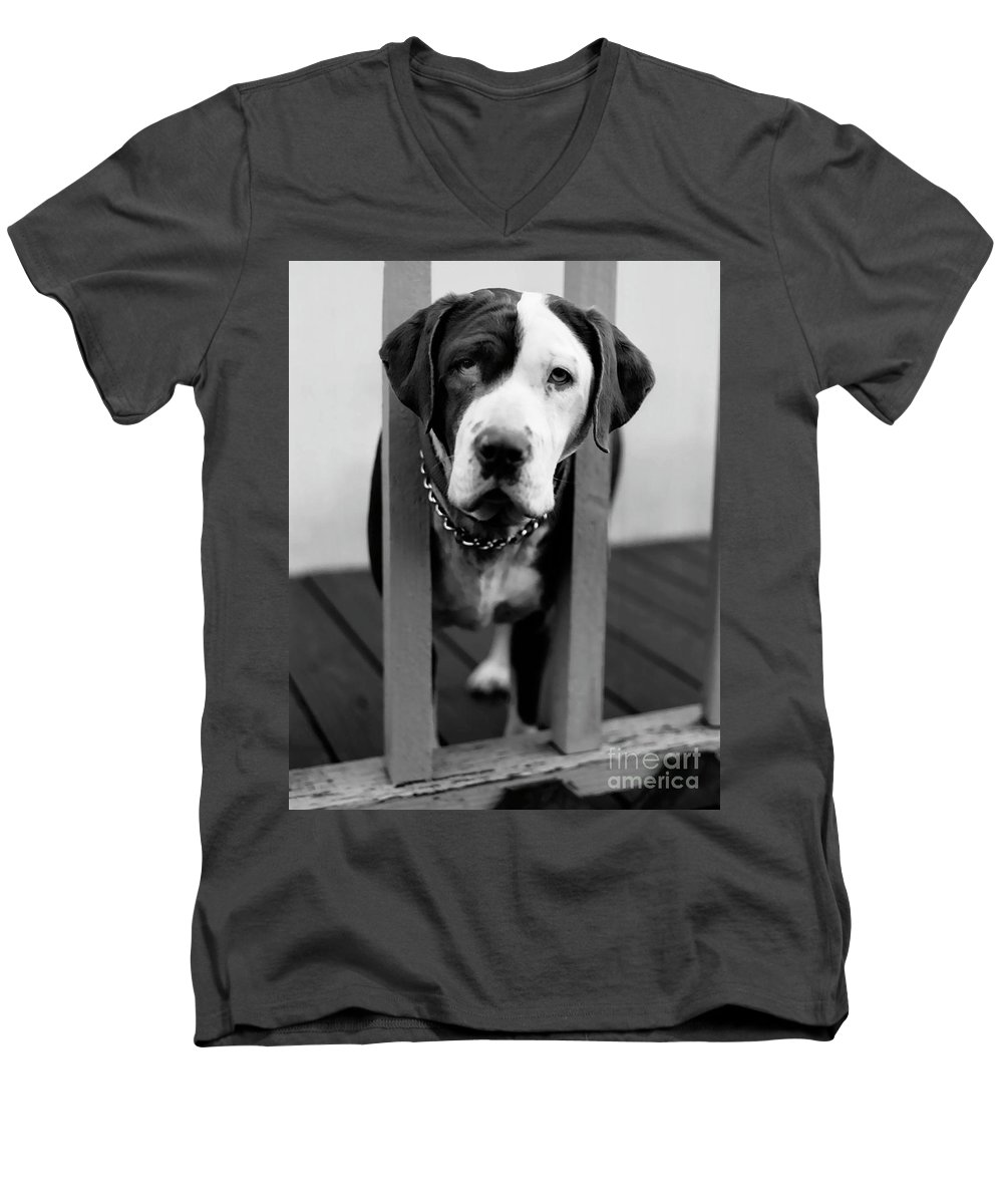 Black And White Men's V-Neck T-Shirt featuring the photograph So Sad by Peter Piatt