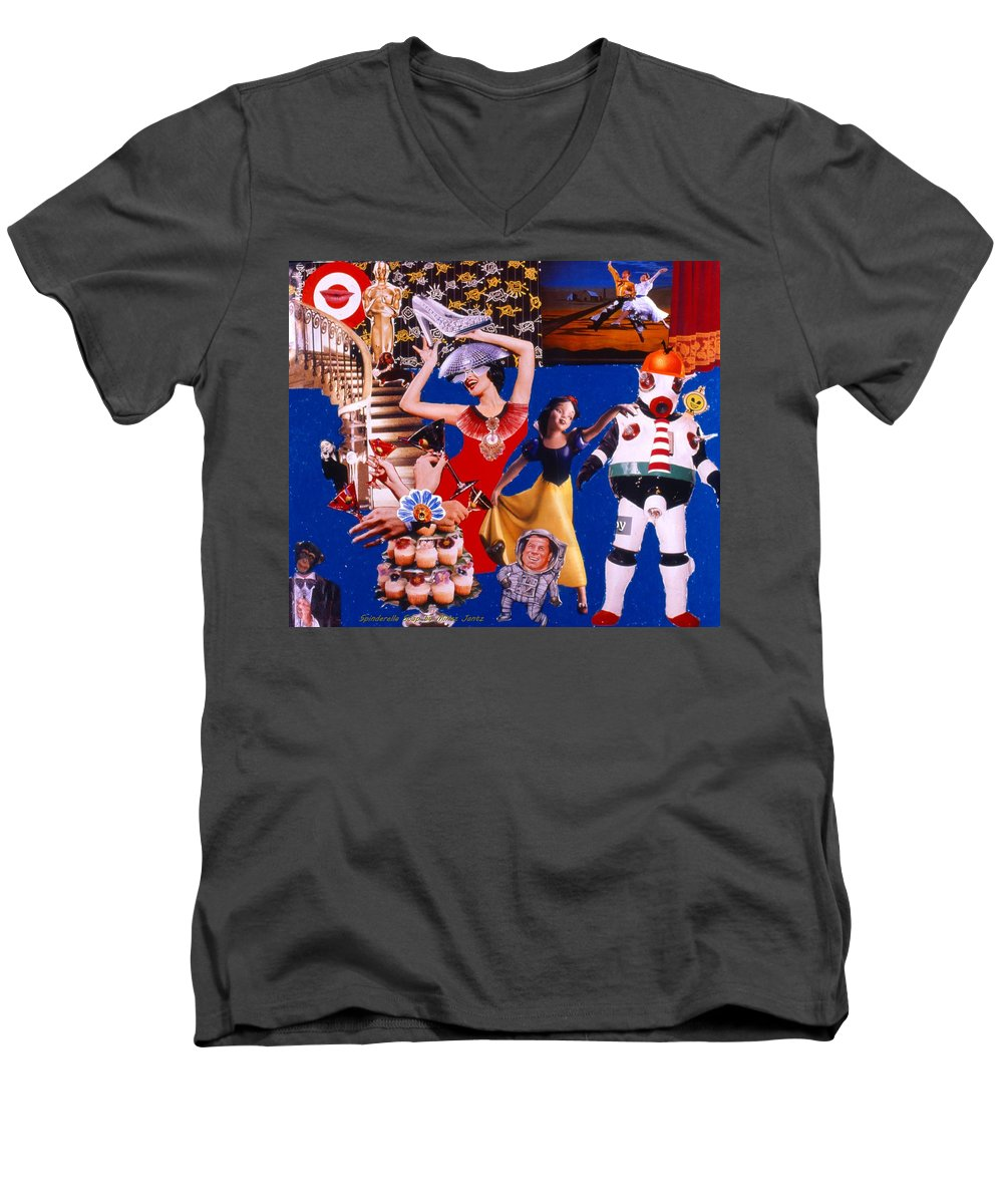 Surreal Men's V-Neck T-Shirt featuring the drawing Soap Scene #23 Oscar's Kiss Of Success by Minaz Jantz