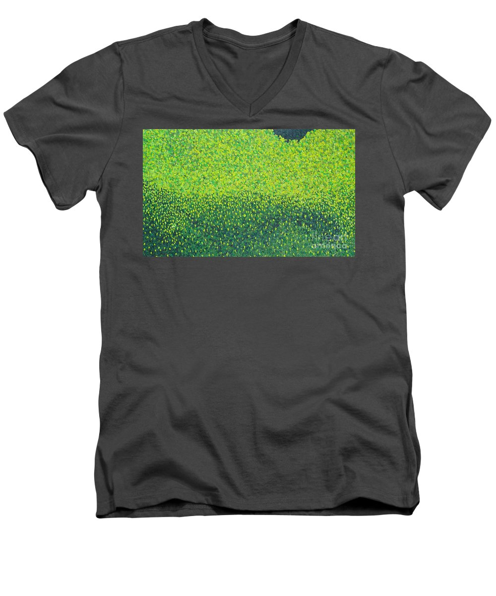 Abstract Men's V-Neck T-Shirt featuring the painting Soft Green Wet Trees by Dean Triolo