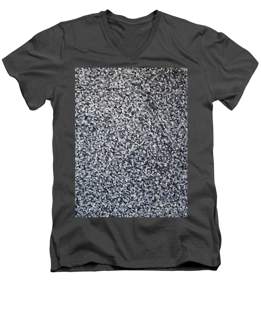 Abstract Men's V-Neck T-Shirt featuring the painting Soft Grey Scale by Dean Triolo