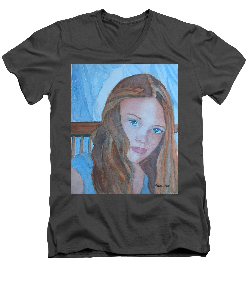 Girls Men's V-Neck T-Shirt featuring the painting Soft Steel by Jenny Armitage