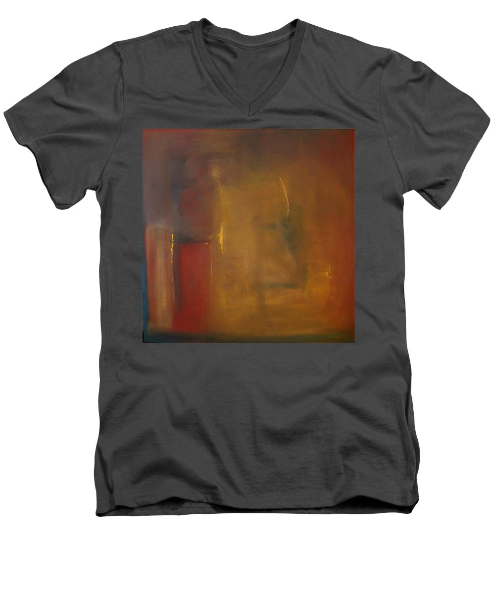 Men's V-Neck T-Shirt featuring the painting Softly Reflecting by Jack Diamond