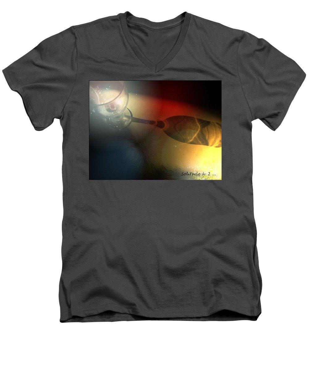 Fantasy Men's V-Neck T-Shirt featuring the photograph Solitude A Deux by Miki De Goodaboom