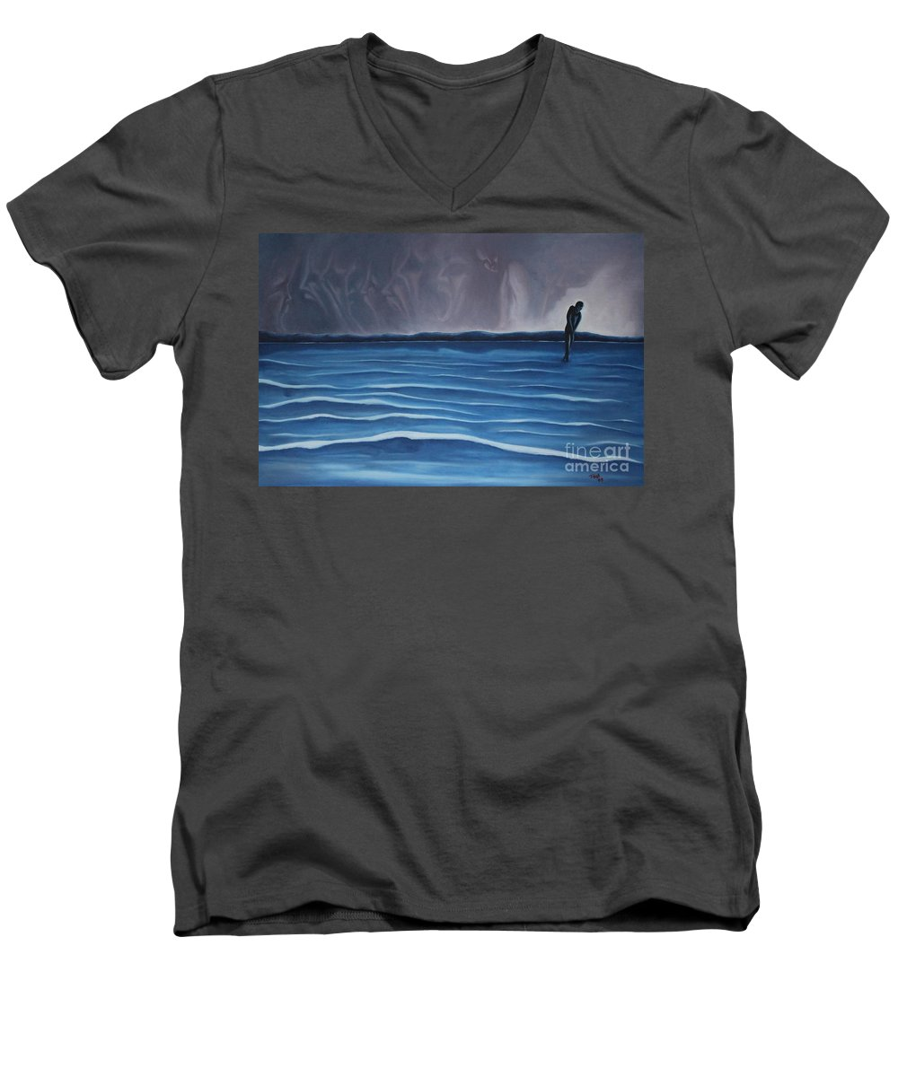 Tmad Men's V-Neck T-Shirt featuring the painting Solitude by Michael TMAD Finney