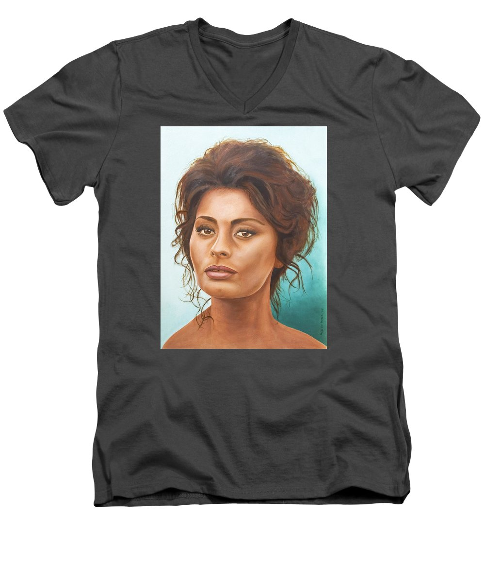Moviestar Men's V-Neck T-Shirt featuring the painting Sophia Loren by Rob De Vries