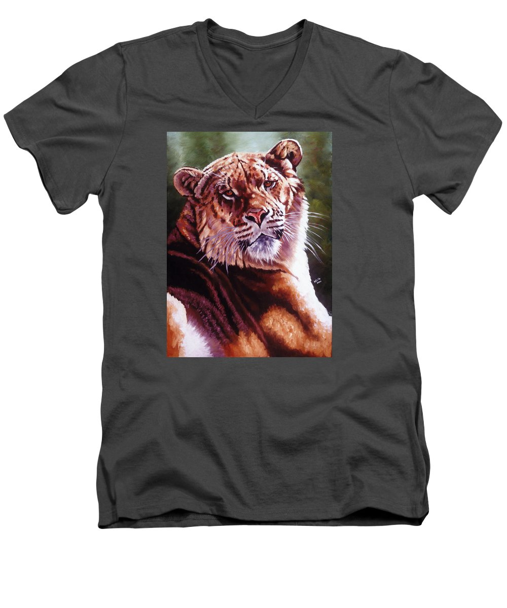 Hybrid Men's V-Neck T-Shirt featuring the painting Sophie The Liger by Barbara Keith