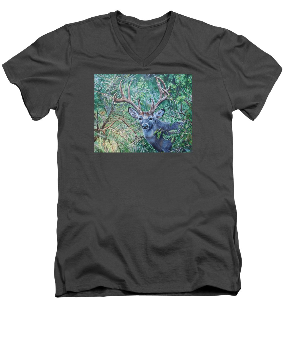 Deer Men's V-Neck T-Shirt featuring the painting South Texas Deer In Thick Brush by Diann Baggett