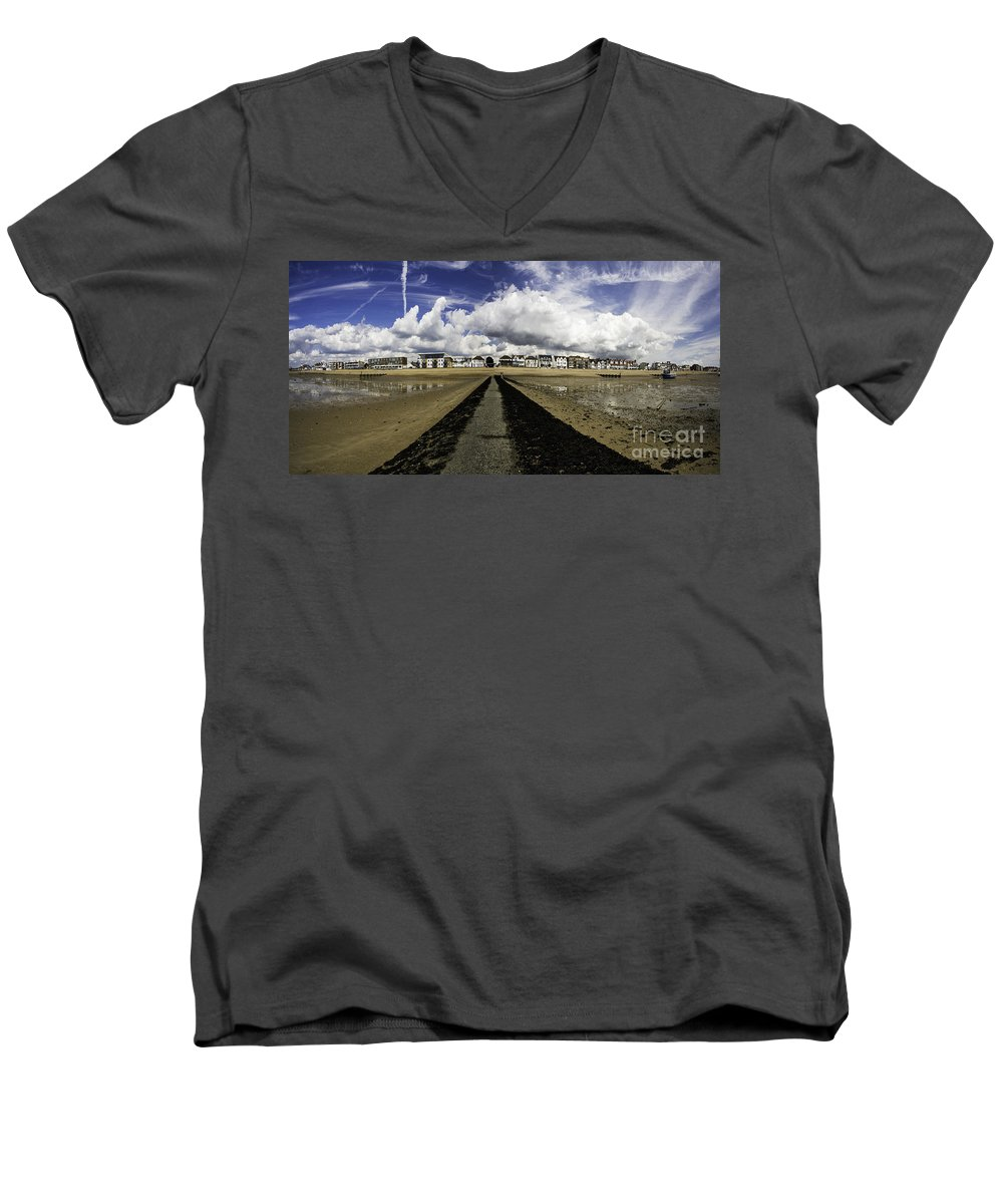 Southend On Sea Men's V-Neck T-Shirt featuring the photograph Southend On Sea Panorama by Avalon Fine Art Photography