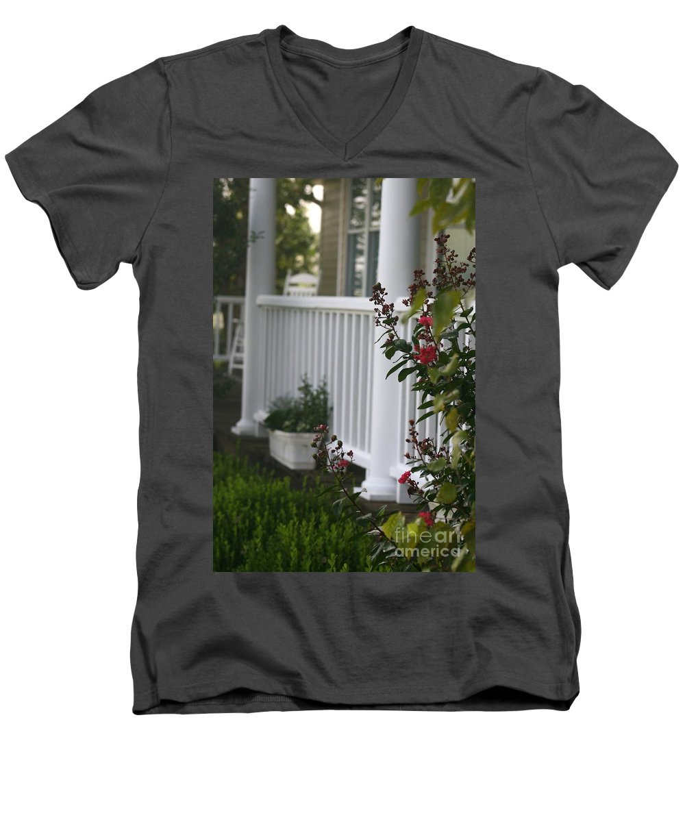 Summer Men's V-Neck T-Shirt featuring the photograph Southern Summer Flowers And Porch by Nadine Rippelmeyer